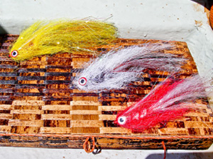 A selection of flies for fishing pike-on-the-fly